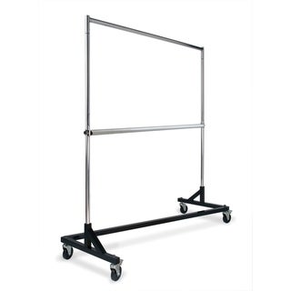 Econoco Rolling Garment Rack with Black Z-Base, Chrome Hangrail and uprights, and add-on hangrail included