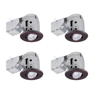 "3"" Swivel Round Trim Recessed Lighting Kit 4-Pack, Oil Rubbed Bronze Finish, Easy Install Push-N-Click Clips, 3.25"" Hole Size"