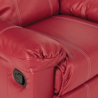 OSP Home Furnishings Kensington Recliner in Crimson Red Bonded Leather with White Stitching