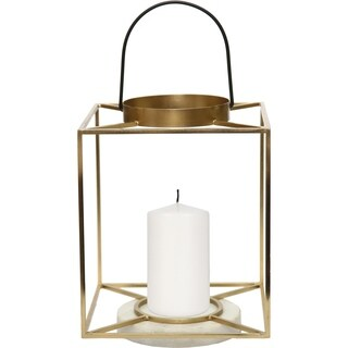 Renwil Dotti Iron and White Marble Gold and Black Candle Holder