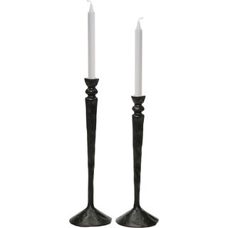 Renwil Bollington Aluminum Black Set of 2 Candle Holders - N/A