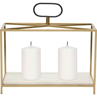 Renwil Flye Iron and White Marble Gold and Black Candle Holder
