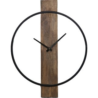 Renwil Pearl Natural Mango Wood and Black Wall Clock