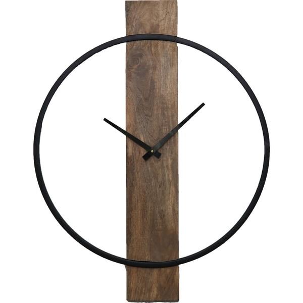 Renwil Pearl Natural Mango Wood and Black Wall Clock