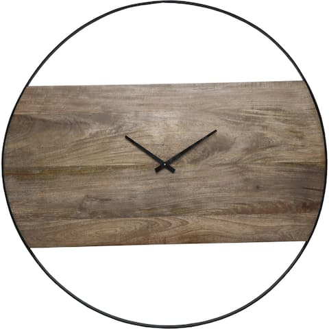 Renwil Amika Natural Mango Wood and Black Wall Clock