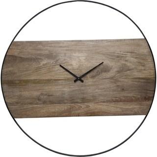 Renwil Amika Natural Mango Wood and Black Wall Clock - N/A