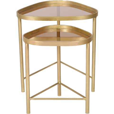 Renwil Comete 2-piece Brass-plated Iron and Smoky Amber Glass Accent Nesting Table Set
