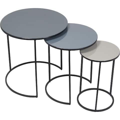 Renwil Ralteen Black Iron and Enamel Set of 3 Tables