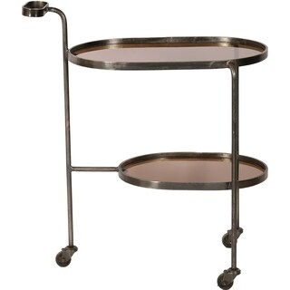 Renwil Niagara Black/Nickel-finished Iron/Smoky Glass Wheeled Bar Cart
