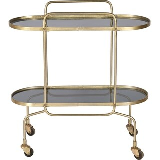Renwil Caboto Iron, Smoky Glass and Antique Brass Bar Cart