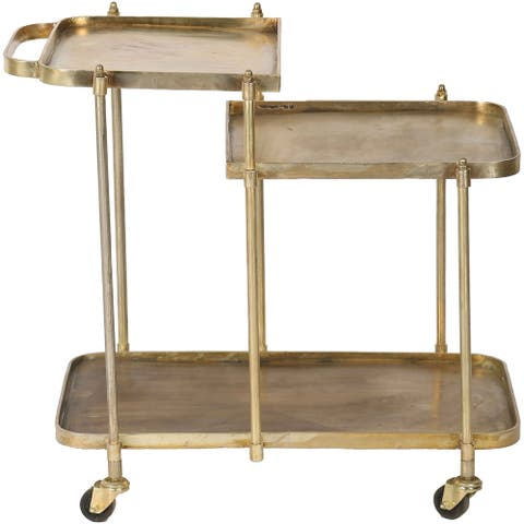 Renwil Vista Forged Iron and Antique Brass Bar Cart