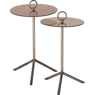Strick & Bolton Ramzi Iron/ Grey Glass Accent Tables (Set of 2)