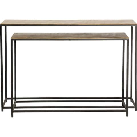 Renwil Ledford Matte Black Iron Set of 2 Accent Tables with Brass Aluminum Tabletop
