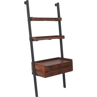Renwil Corsica Natural Mango Wood and Antique Black Iron Shelf