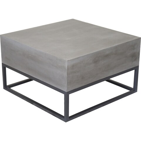 Renwil Valence Cement and Iron Antique Black Coffee Table