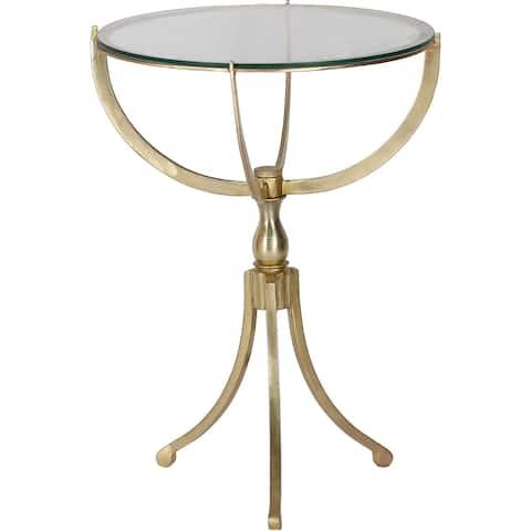 Strick & Bolton Vila Antique Brass/ Glass Accent Table
