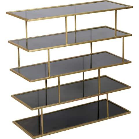 renwil capucine brass finished ironamber glass shelf - Glass Covered Bookshelves
