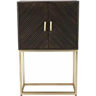 Renwil Flore Grey Antique Brass Mango Wood Iron Cabinet