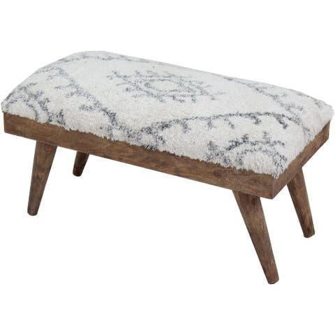 Renwil Soma Shaggy Cotton and Natural Mango Wood Bench