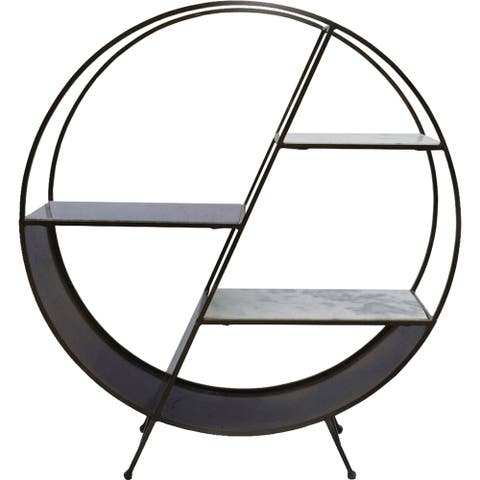Renwil Pallas Antique Brass Iron, Marble and Granite Shelf