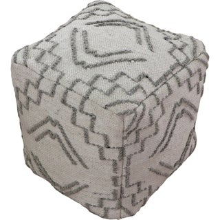 Renwil Thistle Wool and Cotton Ivory Pouf