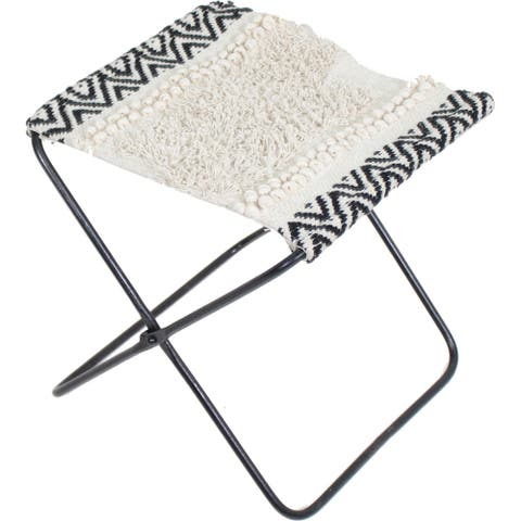 Strick & Bolton Elsene White and Black Cotton/ Iron Stool