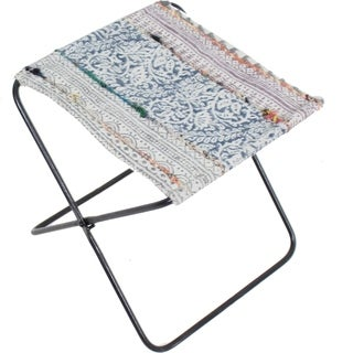 Renwil Serika Multicolor Cotton and Art Silk Iron Stool