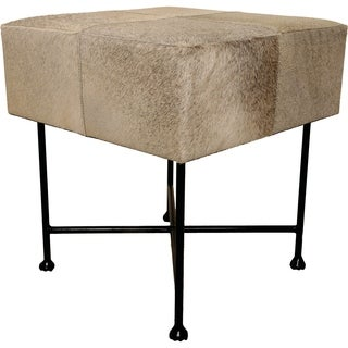 Renwil Malkara Hair-on-Leather and Iron Grey Stool