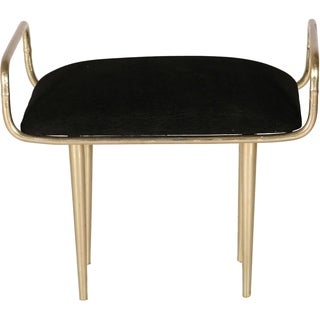 Renwil Delice Antique Brass Iron and Black Fabric Stool