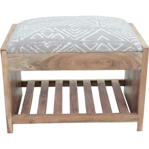Renwil Milas Dark Taupe Natural Acacia Wood Bench with Taupe/White Jacquard Cotton Upholstery