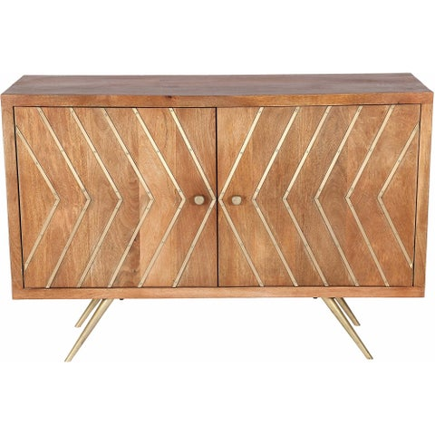 Renwil Bresmo Natural Mango Wood and Antique Brass Iron Cabinet