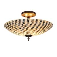 Chloe Transitional 2-light Dark Bronze Semi-Flush Mount - Multi-color