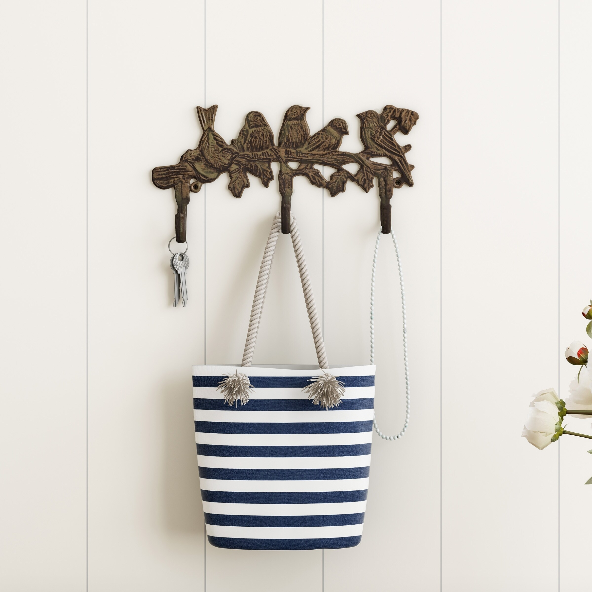 Decorative Tree Branch And Birds Hook Cast Iron Shabby Chic Rustic Wall Mount Hooks By Lavish Home Overstock 22897361