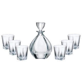 Majestic Gifts High Quality Glass Decanter (32oz.) w/ 6 DOF Tumblers (8.8 oz.) Made in Europe