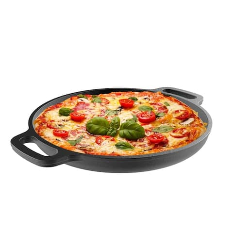 Cast Iron Pizza Pan-13.25 Inches Pre-Seasoned Skillet for Cooking, Baking, Grilling-Durable, Long Lasting by Classic Cuisine