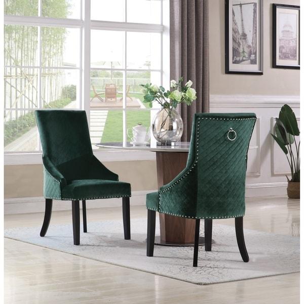Shop Chic Home Moishe Velvet Upholstered Dining Chair, Set ...