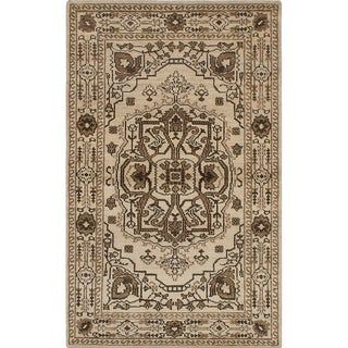 ECARPETGALLERY Hand-knotted Eternity Cream Wool Rug - 4'11 x 8'0