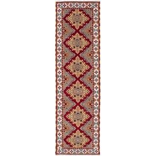 ECARPETGALLERY Hand-knotted Royal Kazak Cream, Dark Burgundy Wool Rug - 2'10 x 9'9