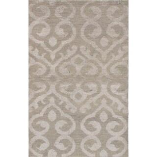 ECARPETGALLERY Hand-knotted La Seda Dark Khaki Silk, Wool Rug - 5'0 x 8'0
