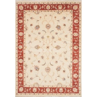 ECARPETGALLERY Hand-knotted Chubi Collection Cream Wool Rug - 6'6 x 9'5