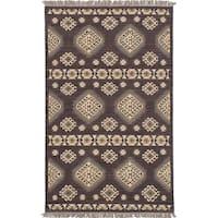 ECARPETGALLERY Flat-weave Izmir FW Dark Brown Wool Kilim - 5'2 x 8'2
