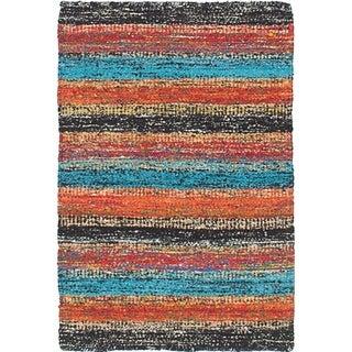 ECARPETGALLERY Flat-weave Sari Silk Black, Dark Burgundy Silk Kilim - 2'0 x 3'0