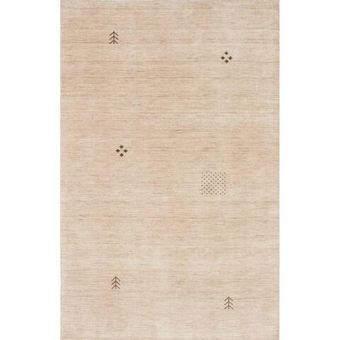 ECARPETGALLERY Hand-knotted Luribaft Gabbeh Riz Cream Wool Rug