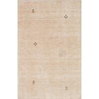 ECARPETGALLERY Hand-knotted Luribaft Gabbeh Riz Cream Wool Rug - 5'0 x 7'11