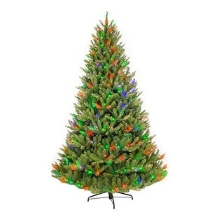 Puleo International 7.5 ft. Pre-lit Fraser Fir Artificial Christmas Tree 750 UL listed Multi Color LED Lights