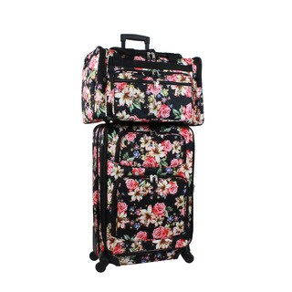 World Traveler Flower Bloom 2-piece Expandable Spinner Luggage Gift Set