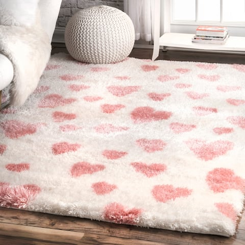 nuLOOM Pink Soft and Plush Modern Valentine Heart Shaped Shag Rug