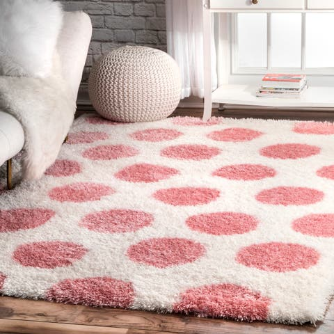 nuLOOM Pink Soft and Plush Contemporary Modern Polk A Dot Shag Rug