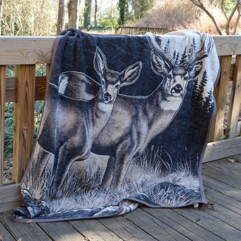 IBENA Sorrento Stag Jacquard Woven Throw Blanket