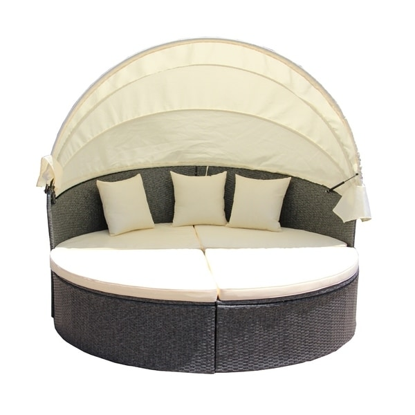 Shop ALEKO Rattan Outdoor Sectional Gray Daybed Set with ... on Safavieh Outdoor Living Granton 5 Pc Living Set id=34518